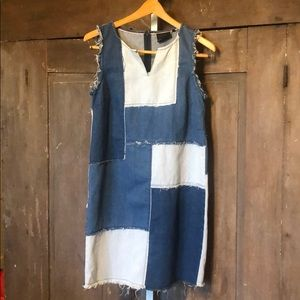 Nanette Lepore | denim jumper dress patchwork